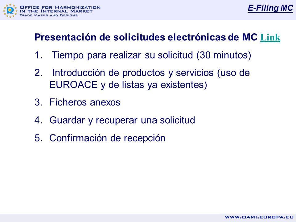 E-Filing MC Presentación de solicitudes electrónicas de MC Link Link 1. Tiempo para realizar su solicitud (30 minutos) 2. Introducción de productos y