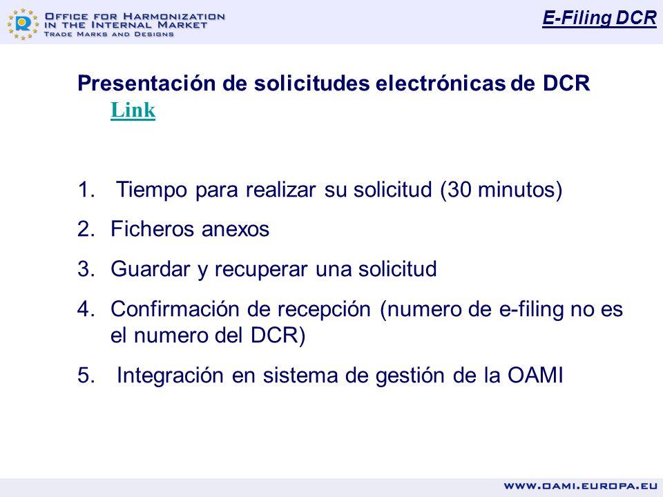 E-Filing DCR Presentación de solicitudes electrónicas de DCR Link Link 1. Tiempo para realizar su solicitud (30 minutos) 2.Ficheros anexos 3.Guardar y