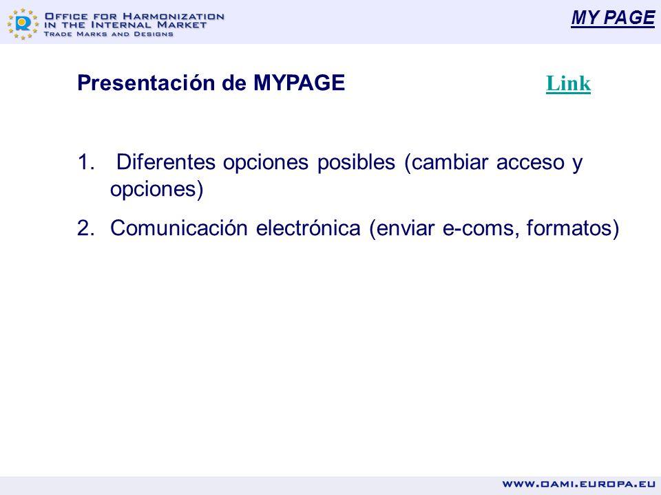 MY PAGE Presentación de MYPAGE Link Link 1. Diferentes opciones posibles (cambiar acceso y opciones) 2.Comunicación electrónica (enviar e-coms, format