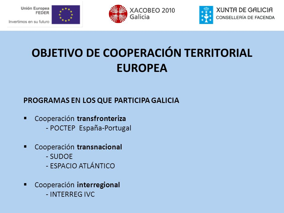 OBJETIVO DE COOPERACIÓN TERRITORIAL EUROPEA PROGRAMAS EN LOS QUE PARTICIPA GALICIA Cooperación transfronteriza - POCTEP España-Portugal Cooperación tr