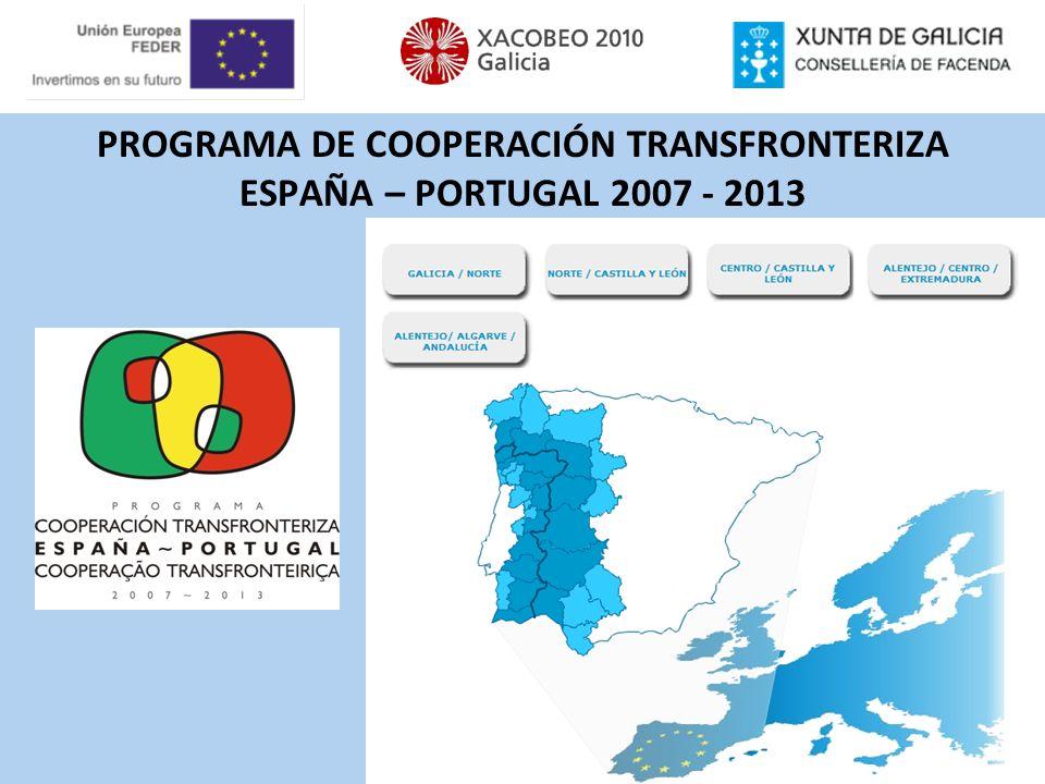 EL ÁREA DE COOPERACIÓN GALICIA–NORTE DE PORTUGAL 50.861 km 2 Galicia 29.575 km 2 Norte de Portugal 21.286 km 2 6,5 millones de personas Galicia 2,8 millones Norte de Portugal 3,8 millones