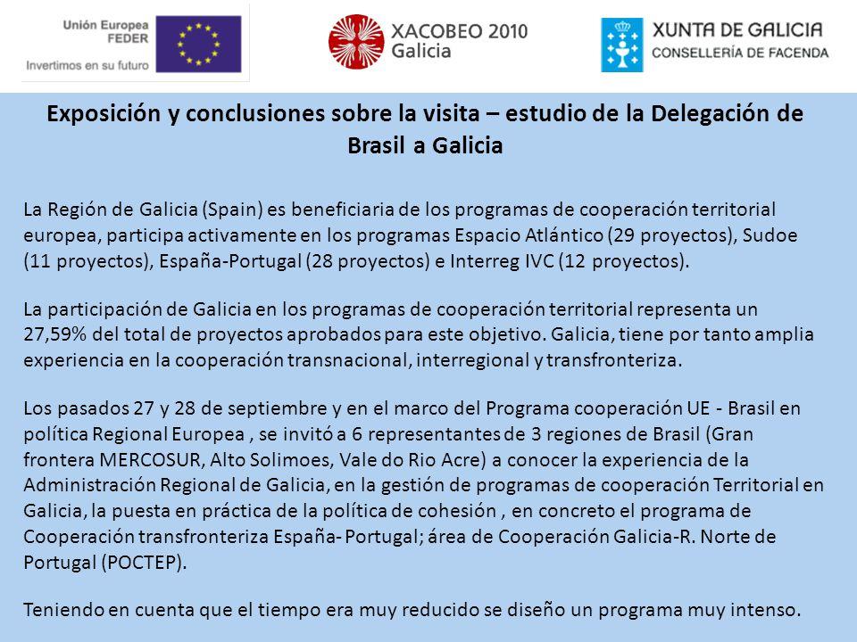Exposición y conclusiones sobre la visita – estudio de la Delegación de Brasil a Galicia La Región de Galicia (Spain) es beneficiaria de los programas