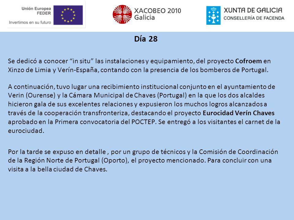 Día 28 Se dedicó a conocer in situ las instalaciones y equipamiento, del proyecto Cofroem en Xinzo de Limia y Verín-España, contando con la presencia