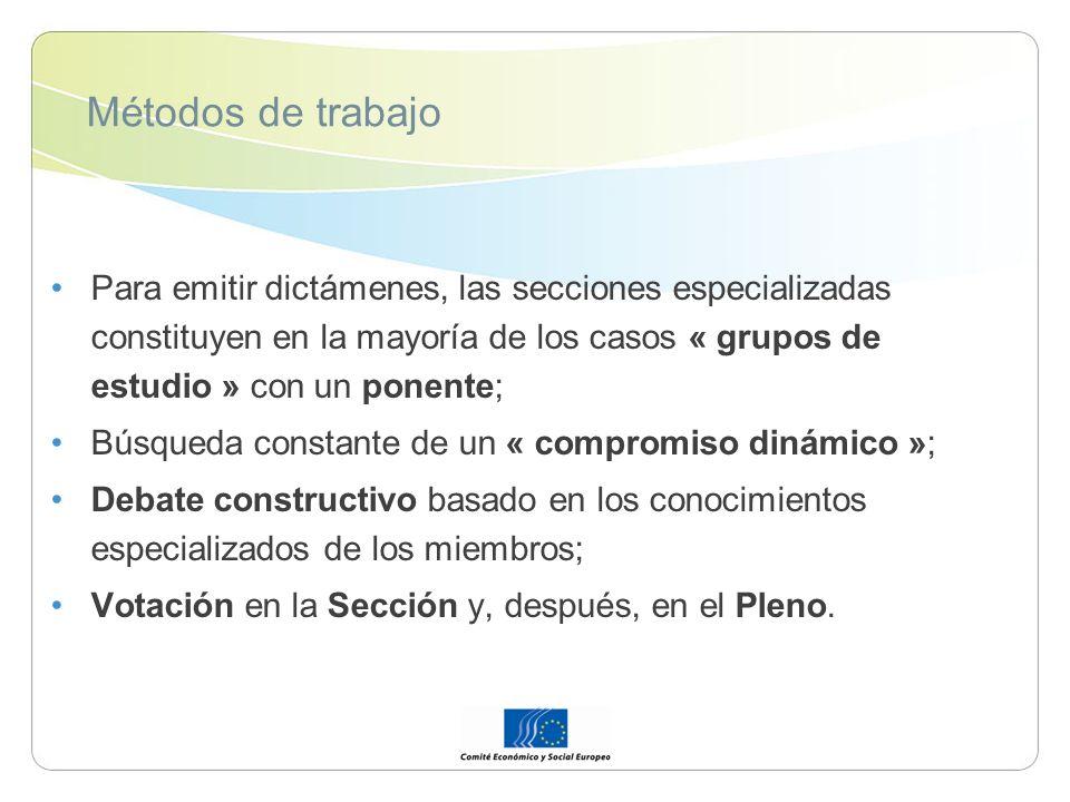 Métodos de trabajo Para emitir dictámenes, las secciones especializadas constituyen en la mayoría de los casos « grupos de estudio » con un ponente; B