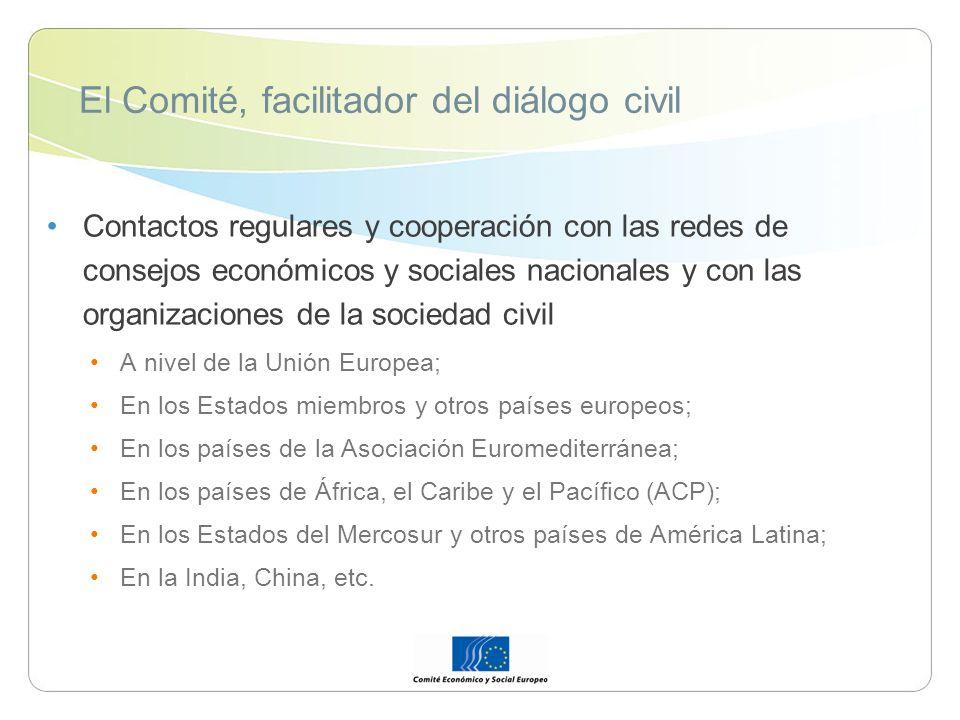 El Comité, facilitador del diálogo civil Contactos regulares y cooperación con las redes de consejos económicos y sociales nacionales y con las organizaciones de la sociedad civil A nivel de la Unión Europea; En los Estados miembros y otros países europeos; En los países de la Asociación Euromediterránea; En los países de África, el Caribe y el Pacífico (ACP); En los Estados del Mercosur y otros países de América Latina; En la India, China, etc.