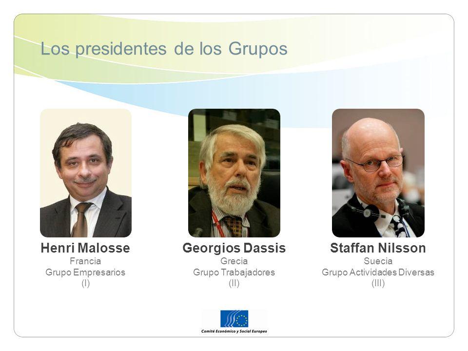 Los presidentes de los Grupos Henri Malosse Francia Grupo Empresarios (I) Georgios Dassis Grecia Grupo Trabajadores (II) Staffan Nilsson Suecia Grupo Actividades Diversas (III)