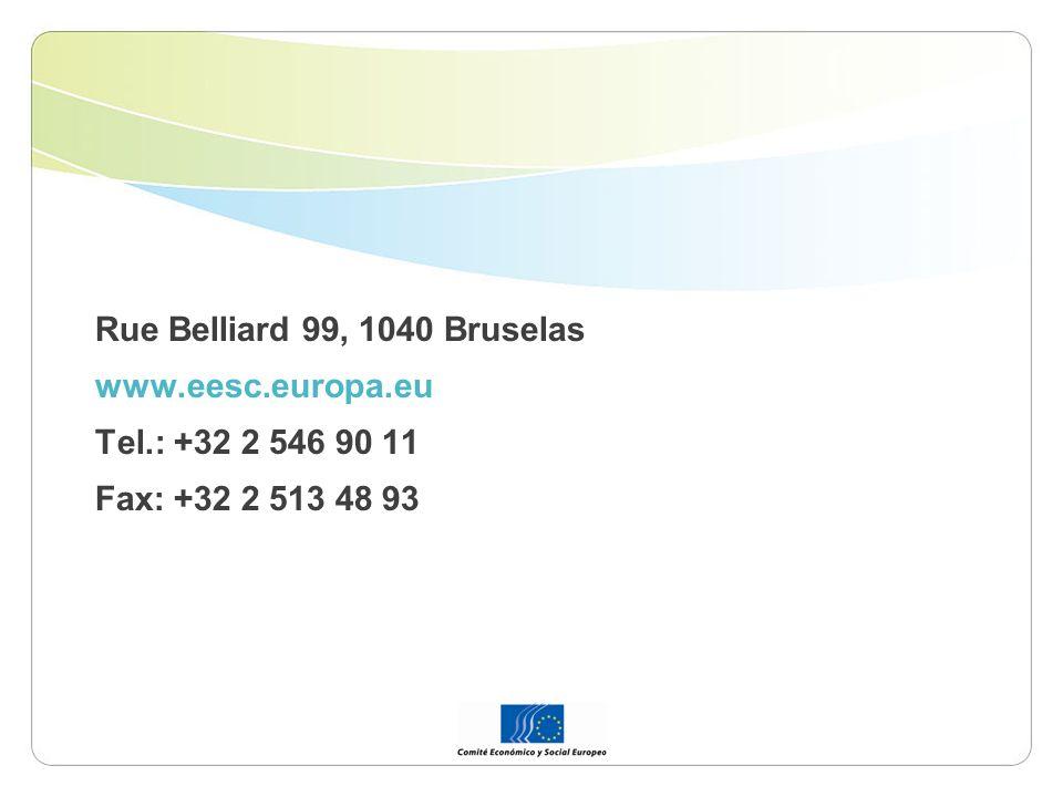 Rue Belliard 99, 1040 Bruselas www.eesc.europa.eu Tel.: +32 2 546 90 11 Fax: +32 2 513 48 93
