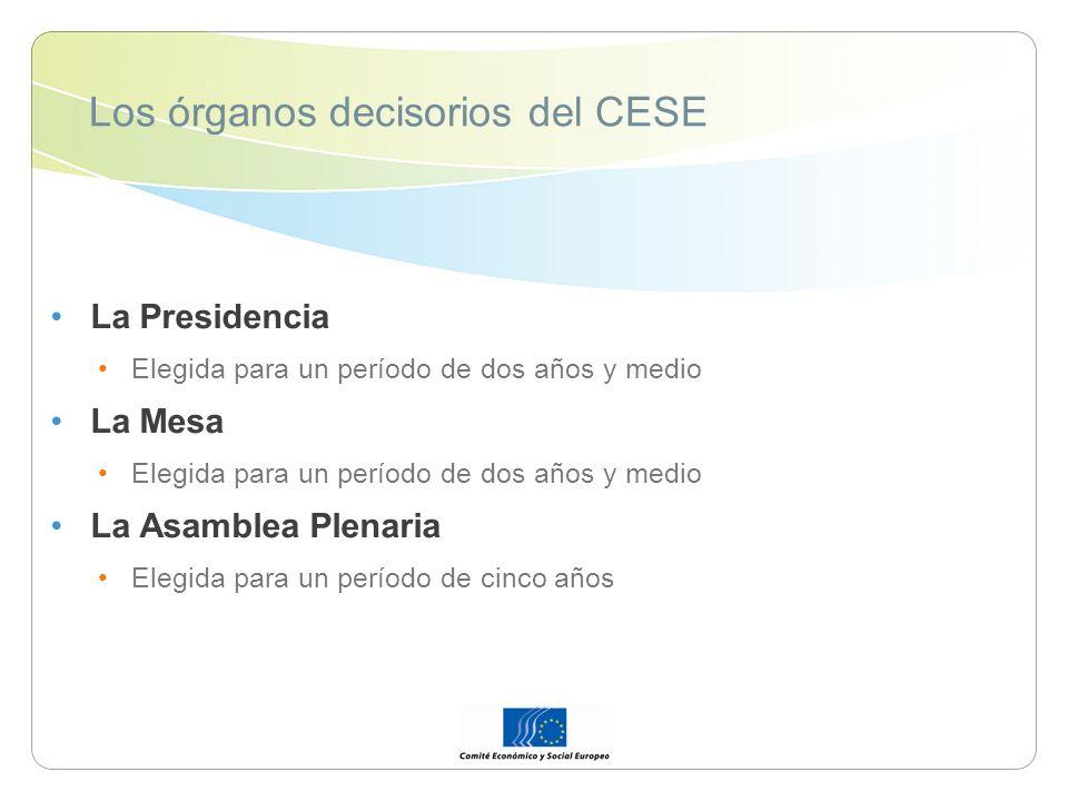 Los órganos decisorios del CESE La Presidencia Elegida para un período de dos años y medio La Mesa Elegida para un período de dos años y medio La Asamblea Plenaria Elegida para un período de cinco años