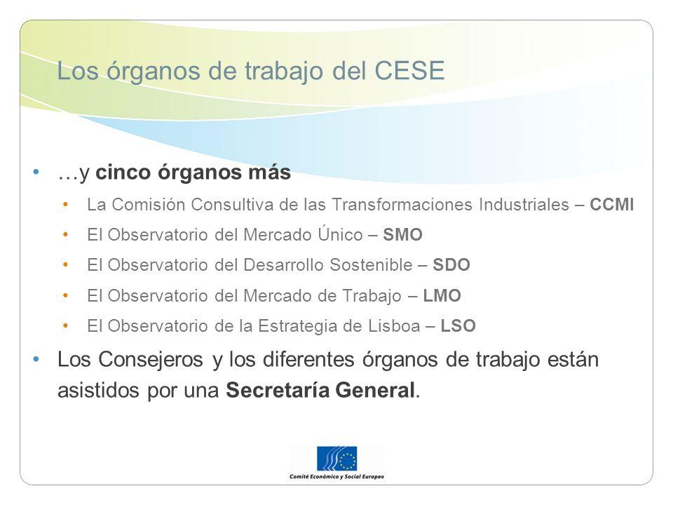 Los órganos de trabajo del CESE …y cinco órganos más La Comisión Consultiva de las Transformaciones Industriales – CCMI El Observatorio del Mercado Ún