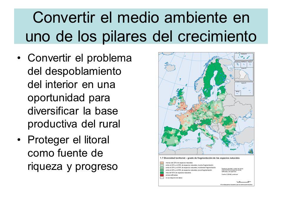 Convertir el medio ambiente en uno de los pilares del crecimiento Convertir el problema del despoblamiento del interior en una oportunidad para diversificar la base productiva del rural Proteger el litoral como fuente de riqueza y progreso