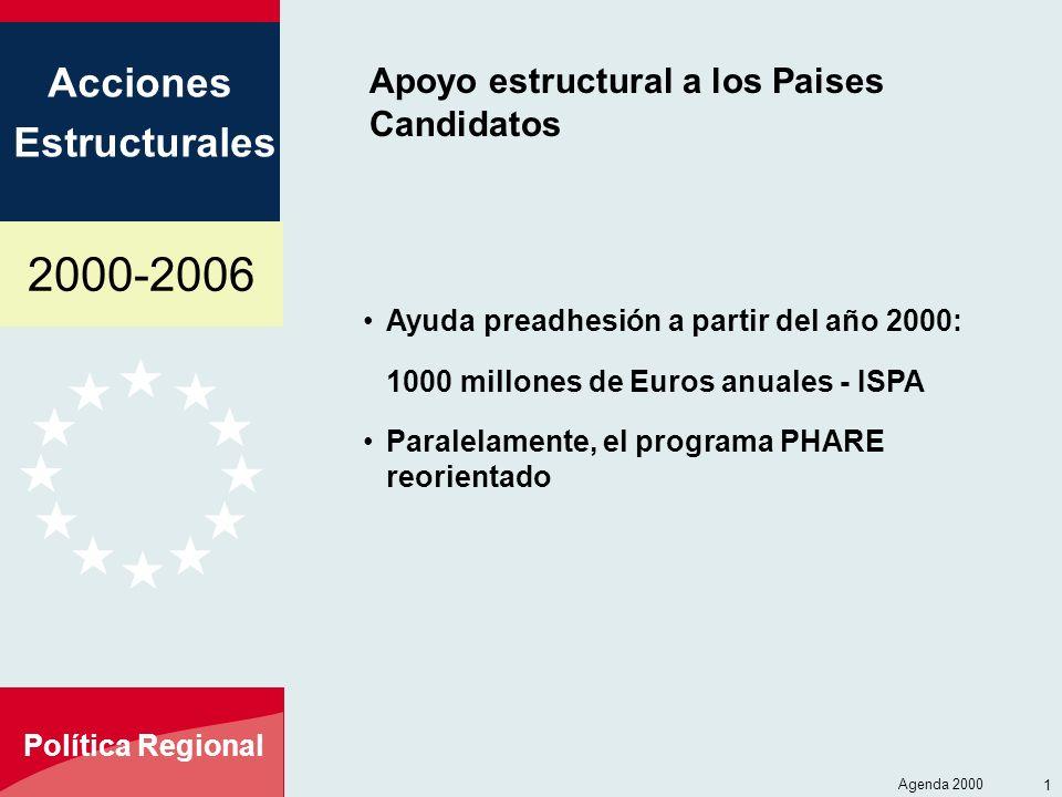 2000-2006 Acciones Estructurales Política Regional Agenda 2000 2 El ISPA - Instrumento Estructural de PreAdhesión Objetivos: Preparar a los paises de Europa Central y Oriental para su adhesión total - Desarrollar los enlaces de transporte y mejorar y proteger el medio ambiente - Familiarización los procedimientos Cobertura: En un primer tiempo, los 10 candidatos de Europa Central y Oriental; evolucionará en función de la adhesión Presupuesto: 1000 millones de Euros por año