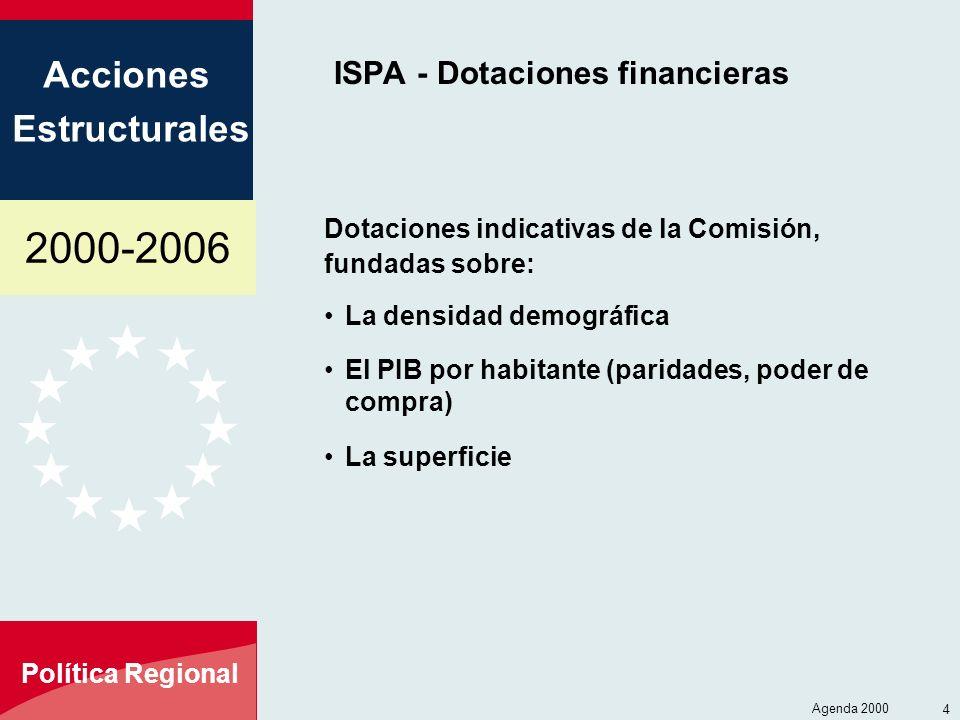 2000-2006 Acciones Estructurales Política Regional Agenda 2000 4 ISPA - Dotaciones financieras Dotaciones indicativas de la Comisión, fundadas sobre: La densidad demográfica El PIB por habitante (paridades, poder de compra) La superficie