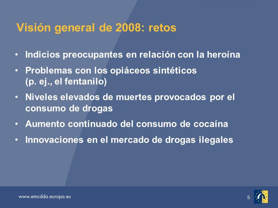 5 Visión general de 2008: retos Indicios preocupantes en relación con la heroína Problemas con los opiáceos sintéticos (p.