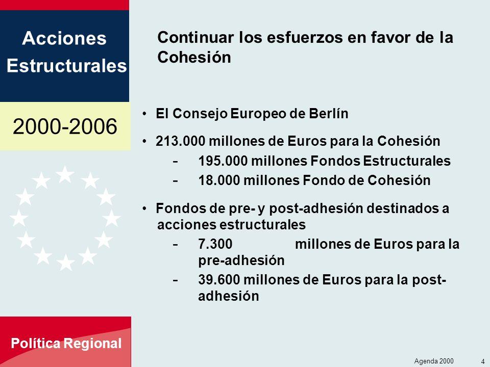 2000-2006 Acciones Estructurales Política Regional Agenda 2000 4 Continuar los esfuerzos en favor de la Cohesión El Consejo Europeo de Berlín 213.000 millones de Euros para la Cohesión - 195.000 millones Fondos Estructurales - 18.000 millones Fondo de Cohesión Fondos de pre- y post-adhesión destinados a acciones estructurales - 7.300millones de Euros para la pre-adhesión - 39.600 millones de Euros para la post- adhesión