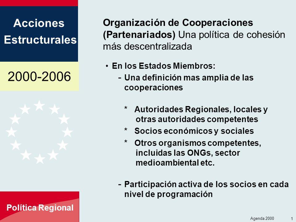 2000-2006 Acciones Estructurales Política Regional Agenda 2000 1 Organización de Cooperaciones (Partenariados) Una política de cohesión más descentral