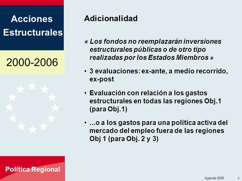 2000-2006 Acciones Estructurales Política Regional Agenda 2000 10 Adicionalidad « Los fondos no reemplazarán inversiones estructurales públicas o de o