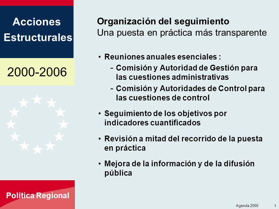 2000-2006 Acciones Estructurales Política Regional Agenda 2000 12 Organización del seguimiento Una puesta en práctica más transparente Reuniones anual