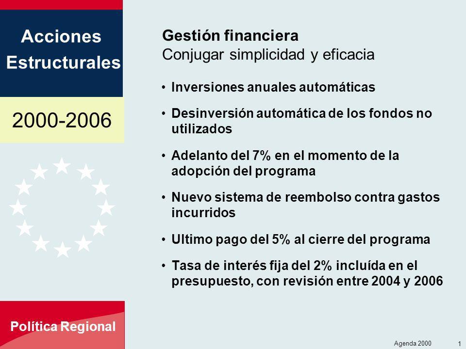 2000-2006 Acciones Estructurales Política Regional Agenda 2000 14 Gestión financiera Conjugar simplicidad y eficacia Inversiones anuales automáticas D