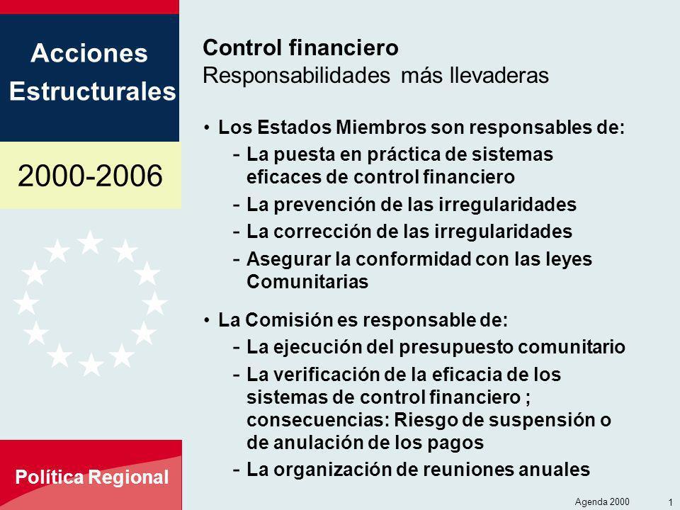 2000-2006 Acciones Estructurales Política Regional Agenda 2000 15 Control financiero Responsabilidades más llevaderas Los Estados Miembros son respons