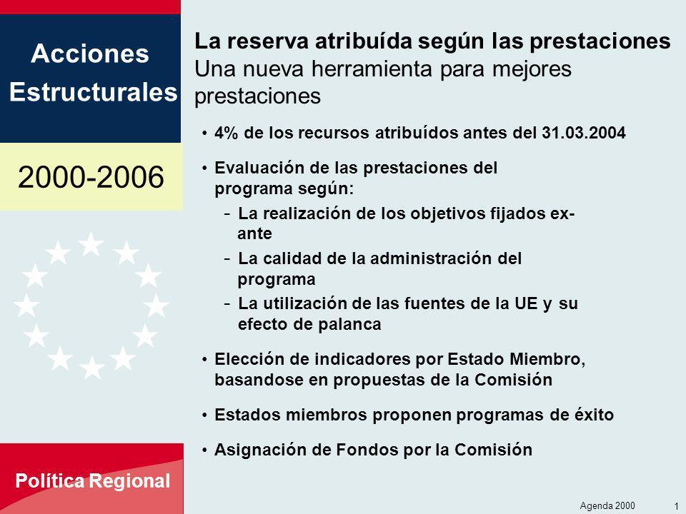2000-2006 Acciones Estructurales Política Regional Agenda 2000 16 La reserva atribuída según las prestaciones Una nueva herramienta para mejores prest