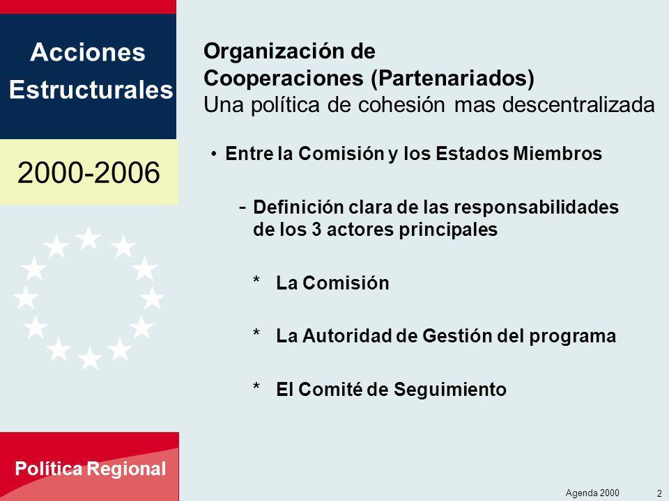 2000-2006 Acciones Estructurales Política Regional Agenda 2000 2 Organización de Cooperaciones (Partenariados) Una política de cohesión mas descentral