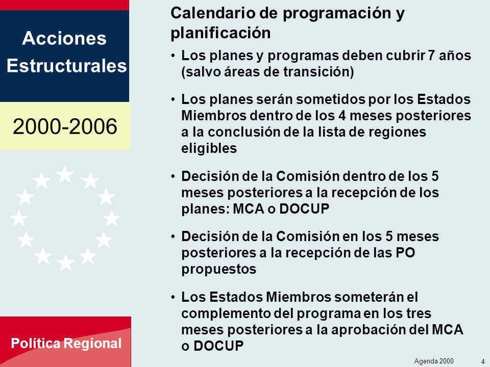 2000-2006 Acciones Estructurales Política Regional Agenda 2000 4 Calendario de programación y planificación Los planes y programas deben cubrir 7 años