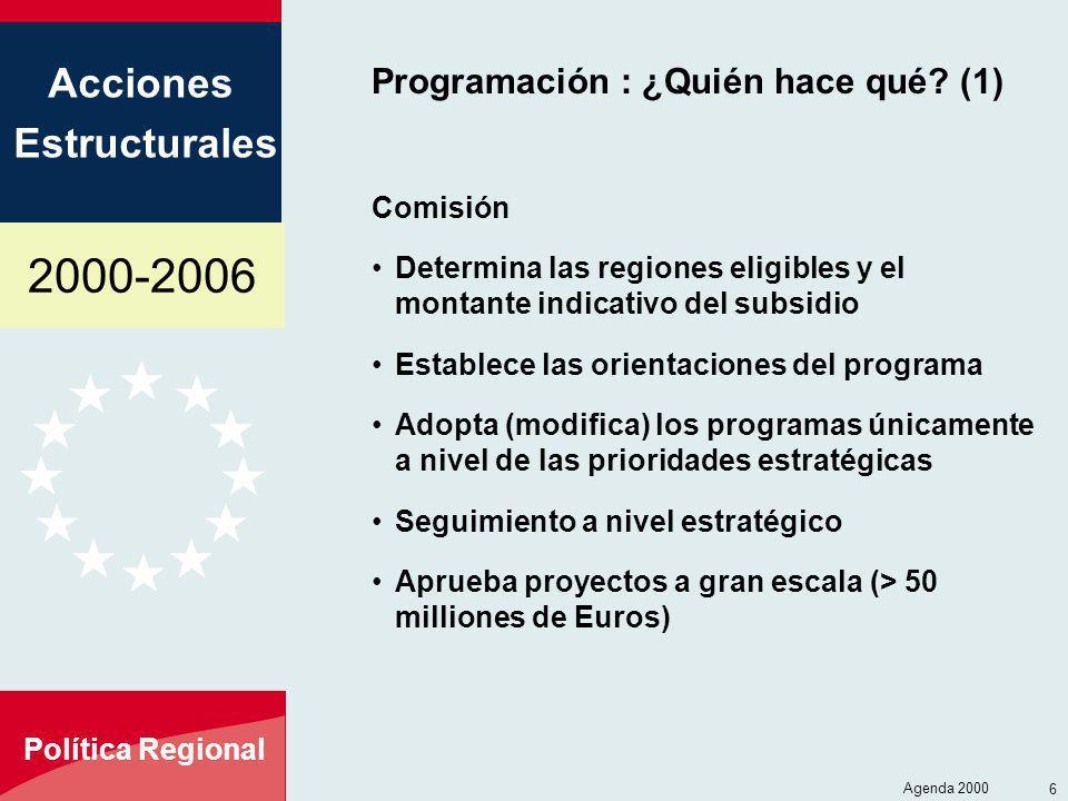2000-2006 Acciones Estructurales Política Regional Agenda 2000 6 Programación : ¿Quién hace qué? (1) Comisión Determina las regiones eligibles y el mo