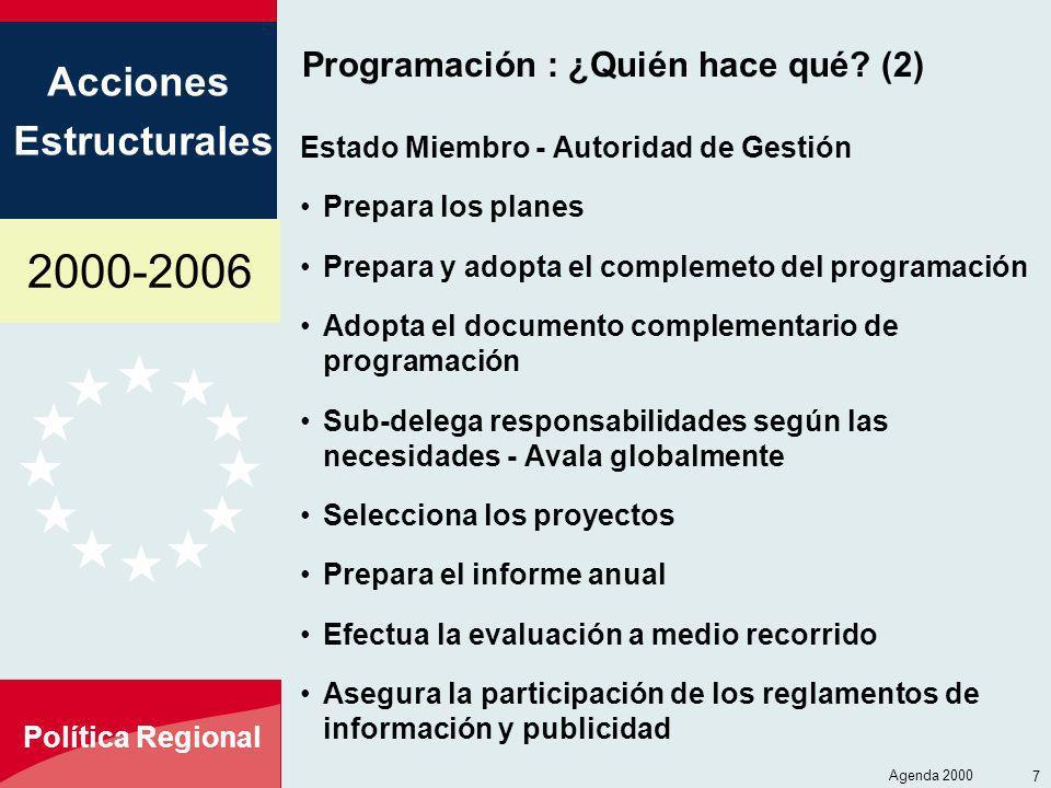 2000-2006 Acciones Estructurales Política Regional Agenda 2000 7 Programación : ¿Quién hace qué? (2) Estado Miembro - Autoridad de Gestión Prepara los