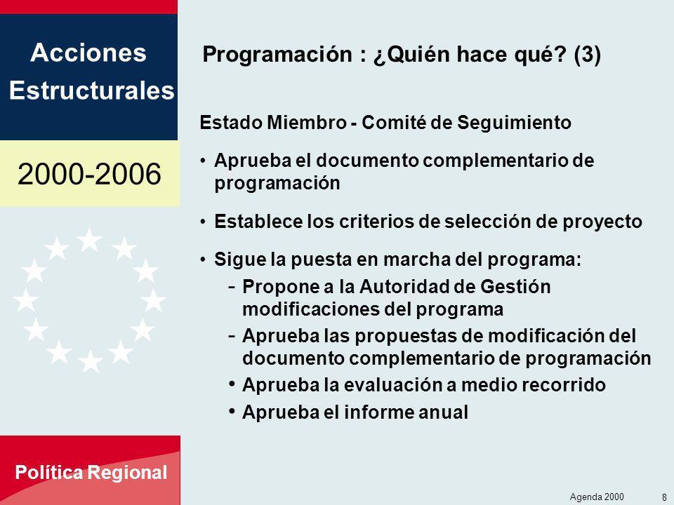 2000-2006 Acciones Estructurales Política Regional Agenda 2000 8 Programación : ¿Quién hace qué? (3) Estado Miembro - Comité de Seguimiento Aprueba el