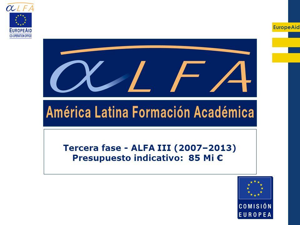 EuropeAid Tercera fase - ALFA III (2007–2013) Presupuesto indicativo: 85 Mi