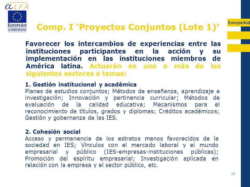 EuropeAid 10 Favorecer los intercambios de experiencias entre las instituciones participantes en la acción y su implementación en las instituciones mi