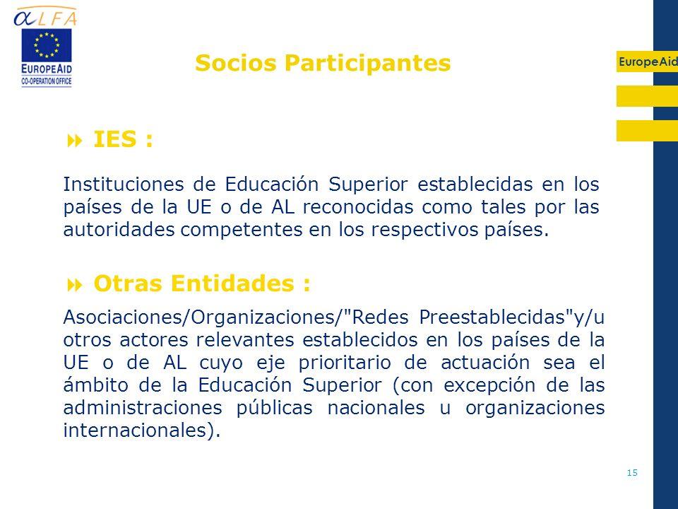 EuropeAid 15 IES : Otras Entidades : Asociaciones/Organizaciones/