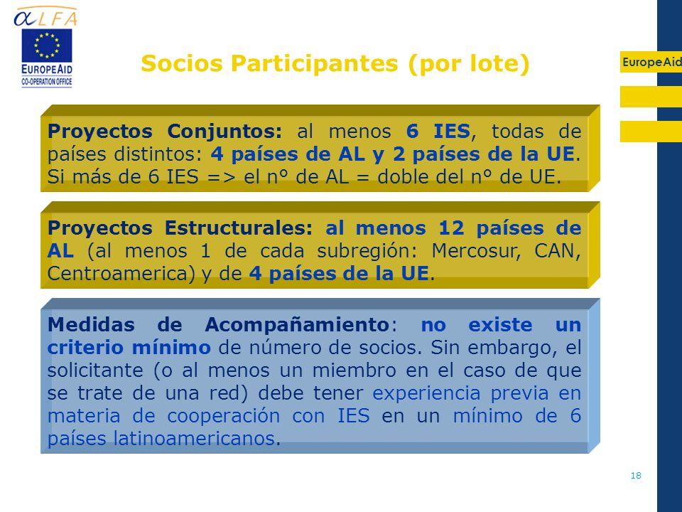 EuropeAid 18 Socios Participantes (por lote) Proyectos Conjuntos: al menos 6 IES, todas de países distintos: 4 países de AL y 2 países de la UE. Si má