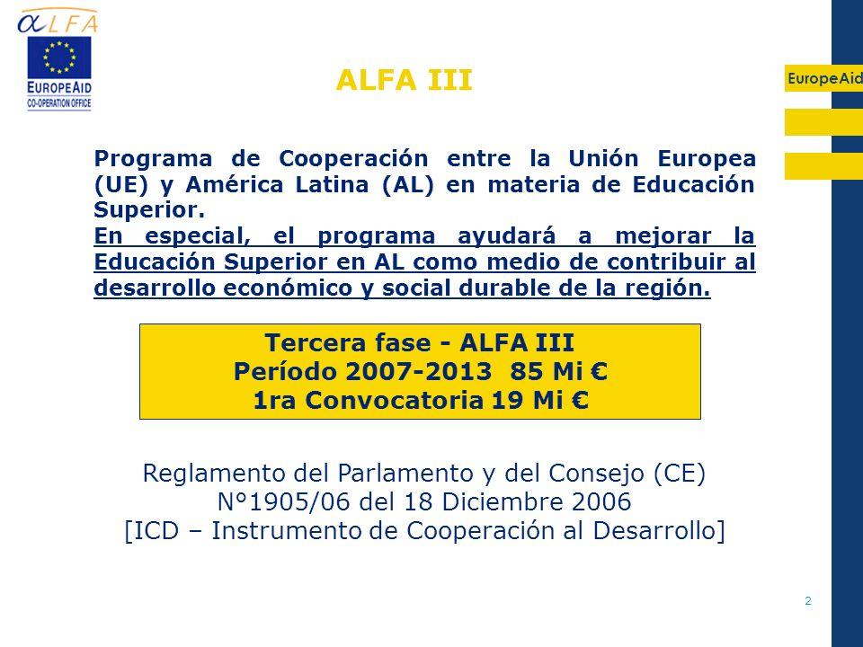 EuropeAid 2 Reglamento del Parlamento y del Consejo (CE) N°1905/06 del 18 Diciembre 2006 [ICD – Instrumento de Cooperación al Desarrollo] Programa de