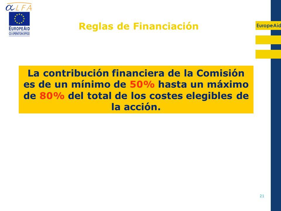 EuropeAid 21 Reglas de Financiación La contribución financiera de la Comisión es de un mínimo de 50% hasta un máximo de 80% del total de los costes el