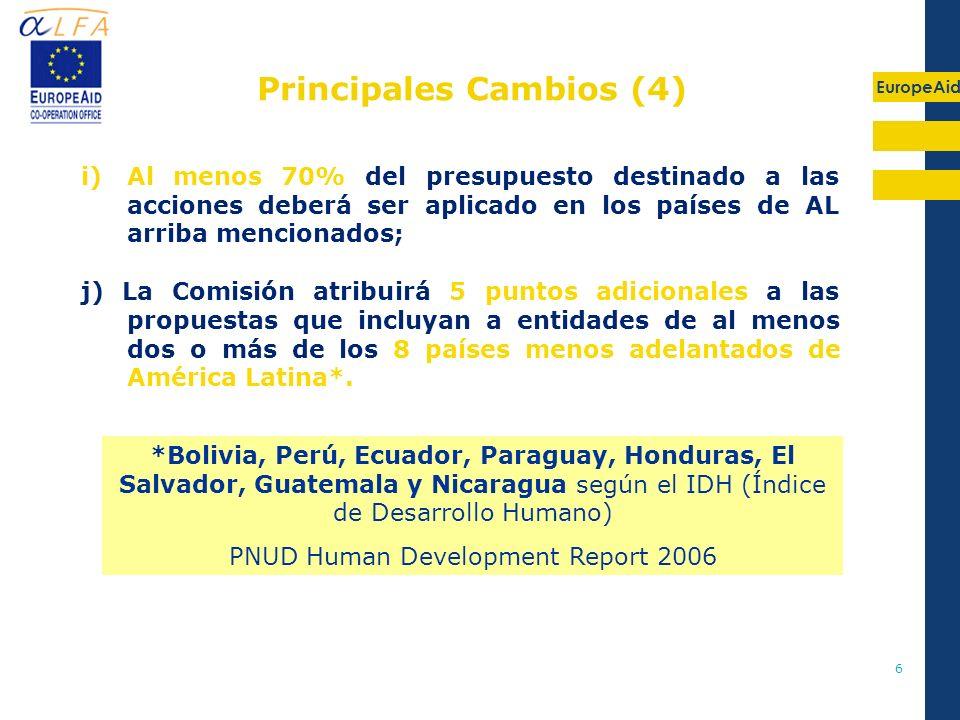EuropeAid 6 *Bolivia, Perú, Ecuador, Paraguay, Honduras, El Salvador, Guatemala y Nicaragua según el IDH (Índice de Desarrollo Humano) PNUD Human Deve
