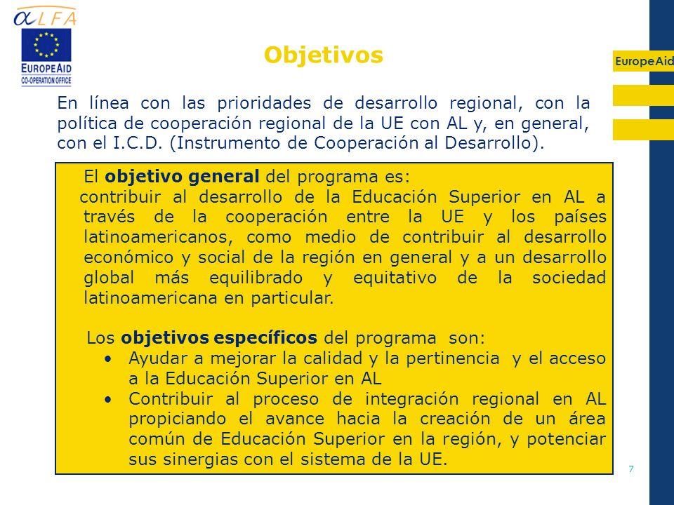 EuropeAid 7 El objetivo general del programa es: contribuir al desarrollo de la Educación Superior en AL a través de la cooperación entre la UE y los