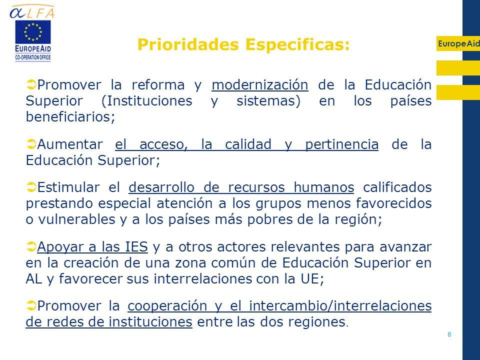EuropeAid 8 Promover la reforma y modernización de la Educación Superior (Instituciones y sistemas) en los países beneficiarios; Aumentar el acceso, l