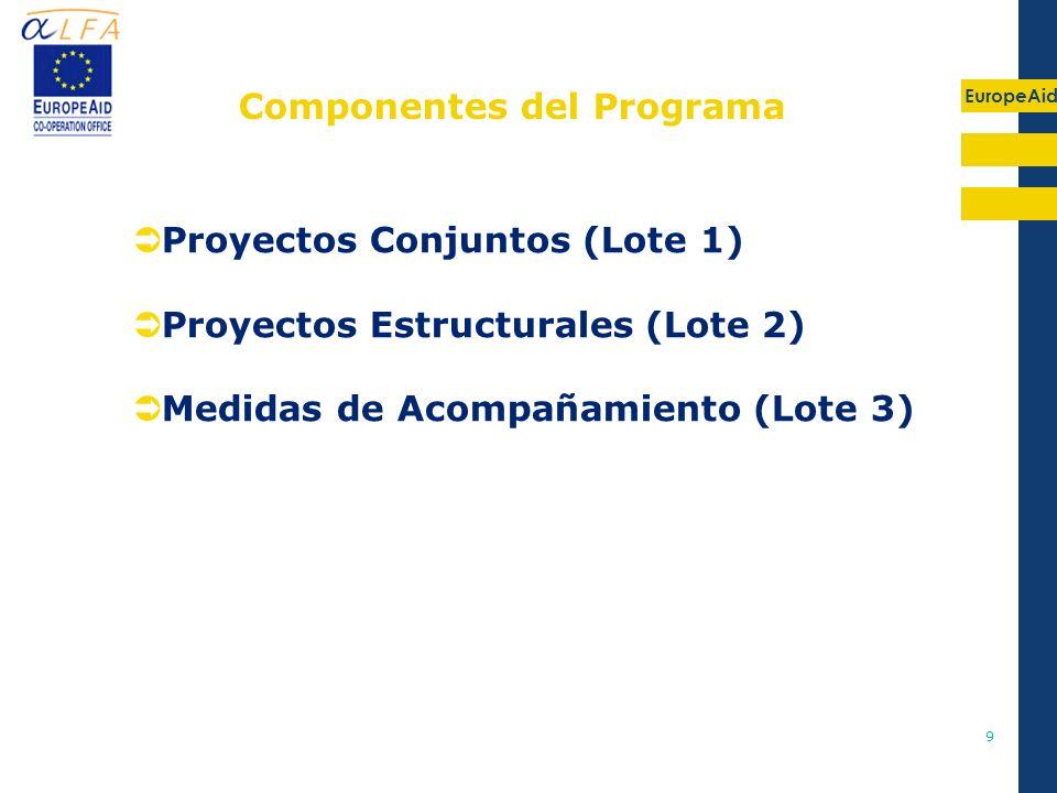 EuropeAid 9 Proyectos Conjuntos (Lote 1) Proyectos Estructurales (Lote 2) Medidas de Acompañamiento (Lote 3) Componentes del Programa