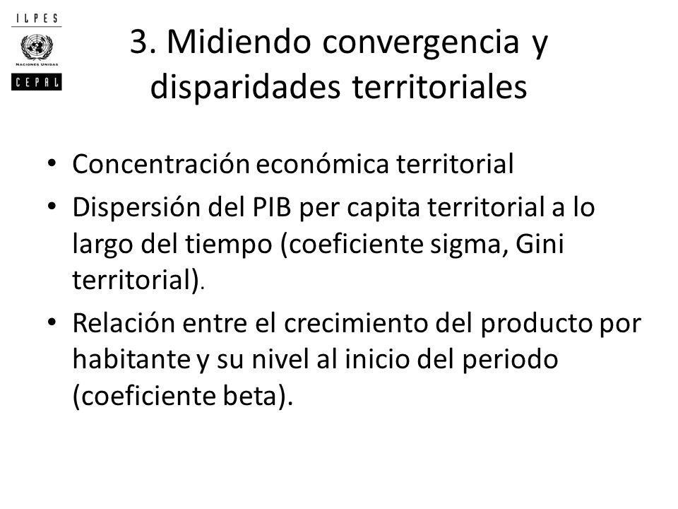 3. Midiendo convergencia y disparidades territoriales Concentración económica territorial Dispersión del PIB per capita territorial a lo largo del tie