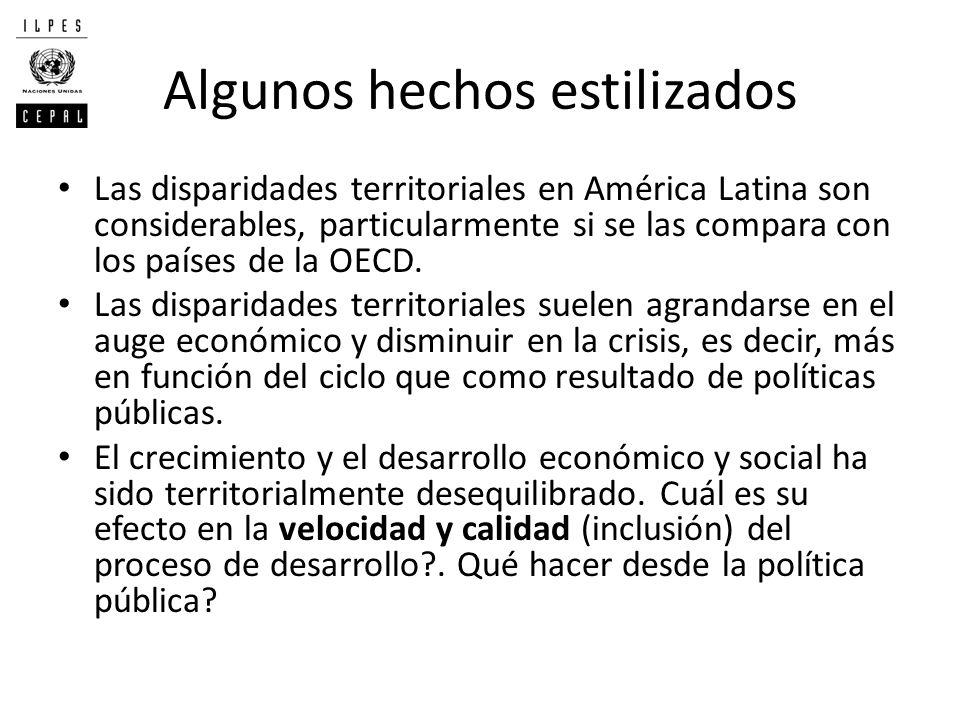 Algunos hechos estilizados Las disparidades territoriales en América Latina son considerables, particularmente si se las compara con los países de la