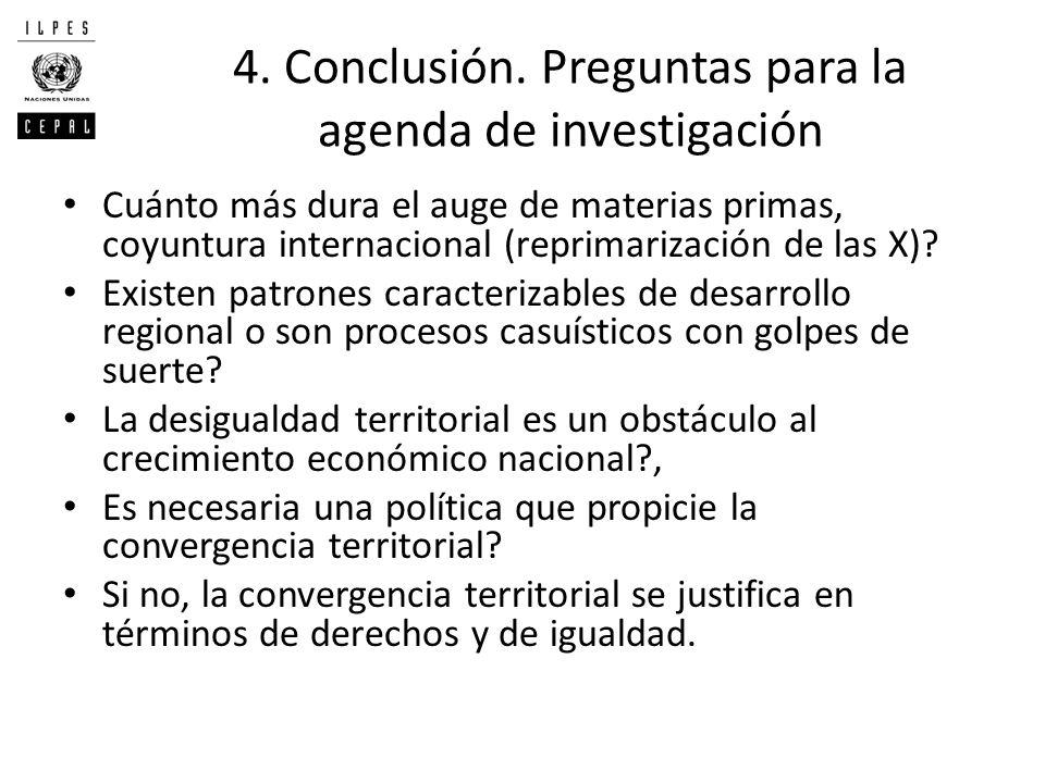 4. Conclusión. Preguntas para la agenda de investigación Cuánto más dura el auge de materias primas, coyuntura internacional (reprimarización de las X