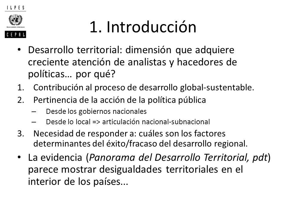 1. Introducción Desarrollo territorial: dimensión que adquiere creciente atención de analistas y hacedores de políticas… por qué? 1.Contribución al pr