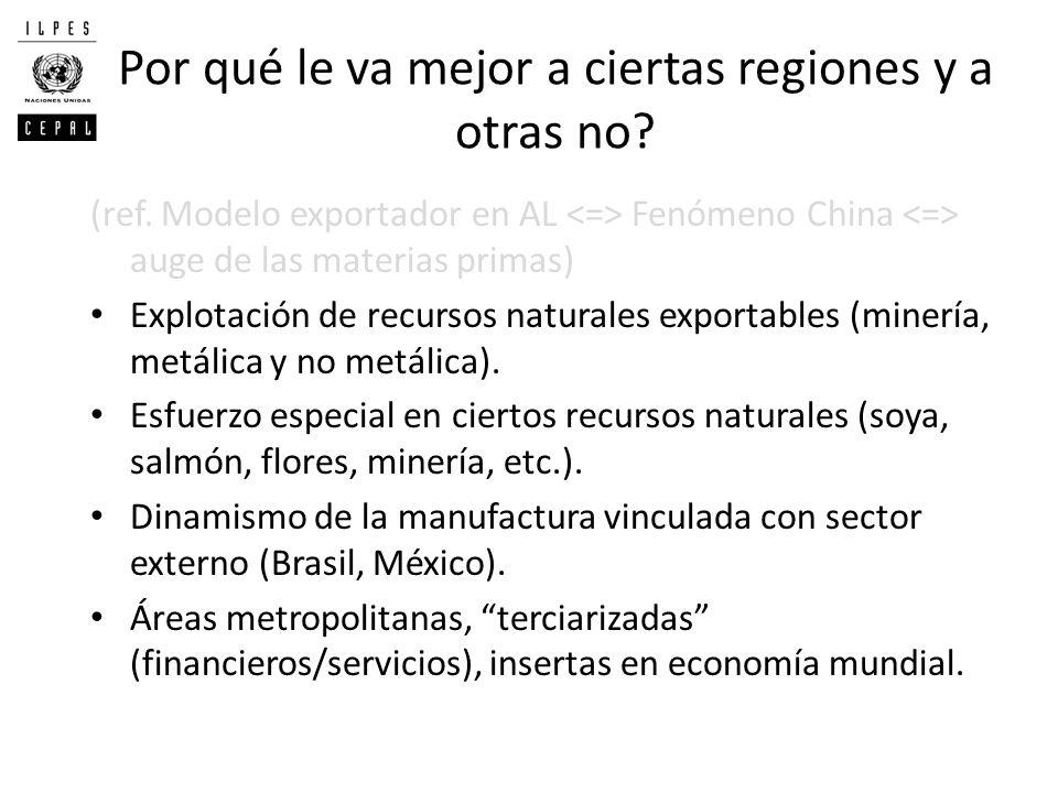 Por qué le va mejor a ciertas regiones y a otras no? (ref. Modelo exportador en AL Fenómeno China auge de las materias primas) Explotación de recursos