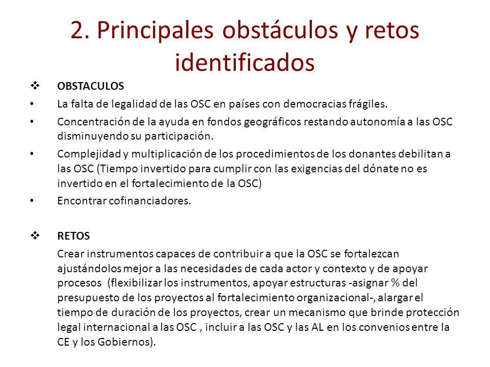 2. Principales obstáculos y retos identificados OBSTACULOS La falta de legalidad de las OSC en países con democracias frágiles. Concentración de la ay