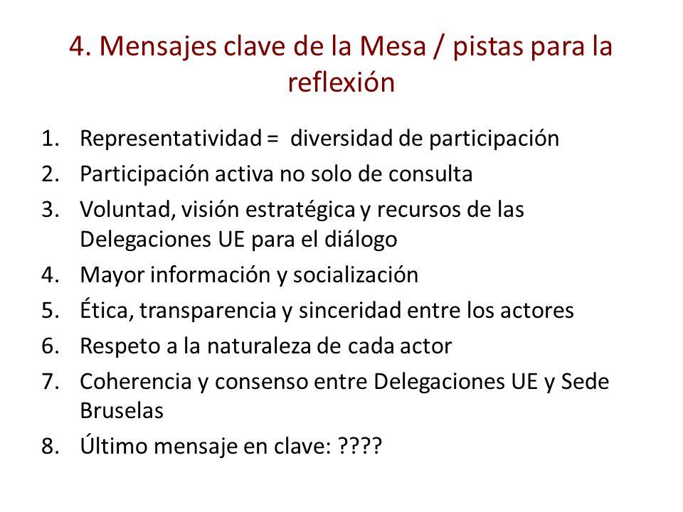 4. Mensajes clave de la Mesa / pistas para la reflexión 1.Representatividad = diversidad de participación 2.Participación activa no solo de consulta 3