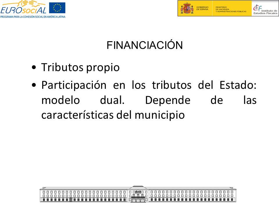 Tributos propio Participación en los tributos del Estado: modelo dual. Depende de las características del municipio FINANCIACIÓN