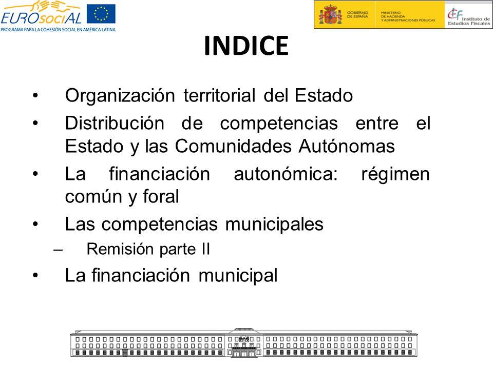 INDICE Organización territorial del Estado Distribución de competencias entre el Estado y las Comunidades Autónomas La financiación autonómica: régime