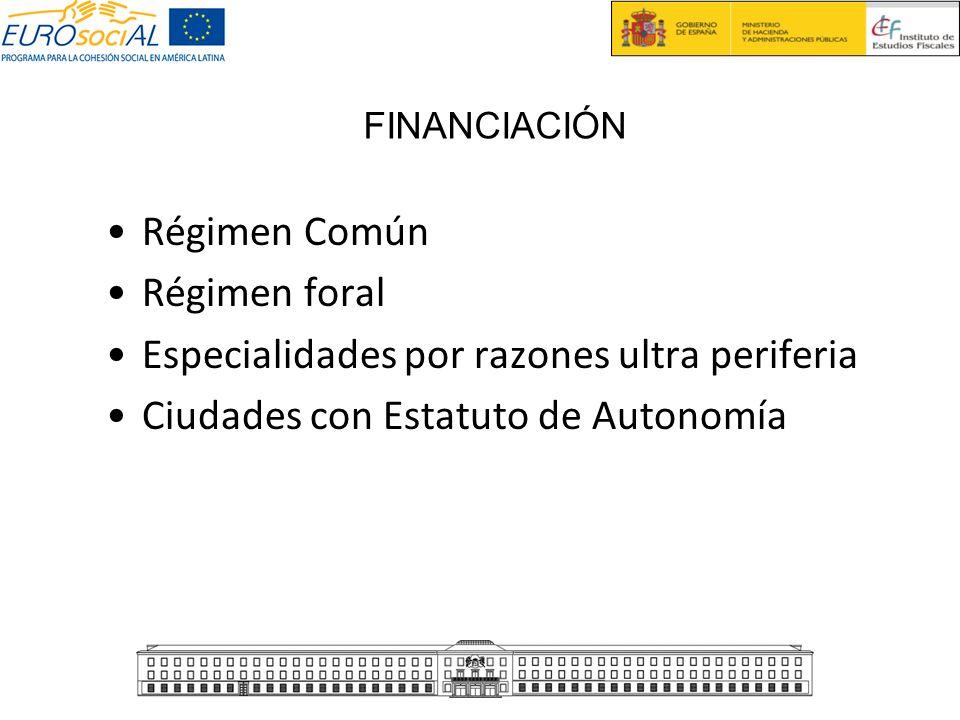 Régimen Común Régimen foral Especialidades por razones ultra periferia Ciudades con Estatuto de Autonomía FINANCIACIÓN