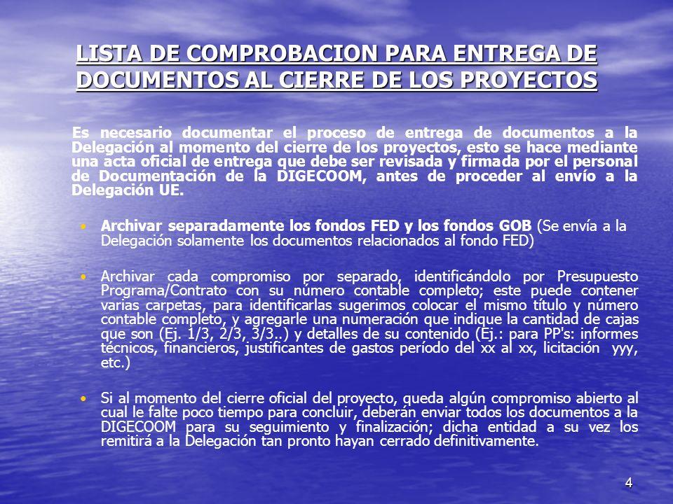 4 LISTA DE COMPROBACION PARA ENTREGA DE DOCUMENTOS AL CIERRE DE LOS PROYECTOS Es necesario documentar el proceso de entrega de documentos a la Delegac